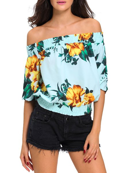 Win Them Over Light Blue Floral Off Shoulder Top