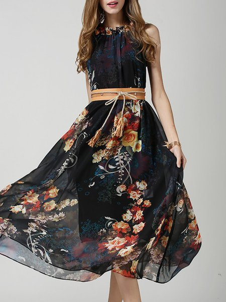 Complete Package Black Floral Dress with Belt