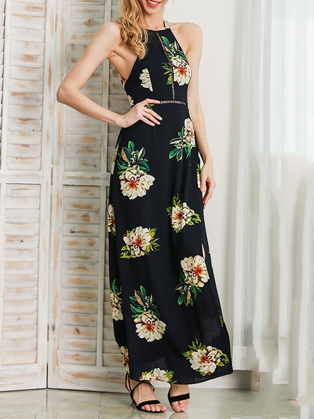 Across The Board Navy Blue Floral Slit Dress
