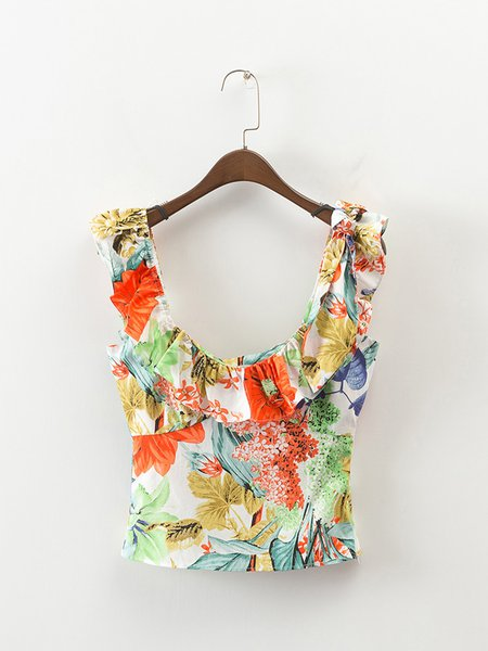 Crazy Forest Ruffled Scoop Neckline Tank