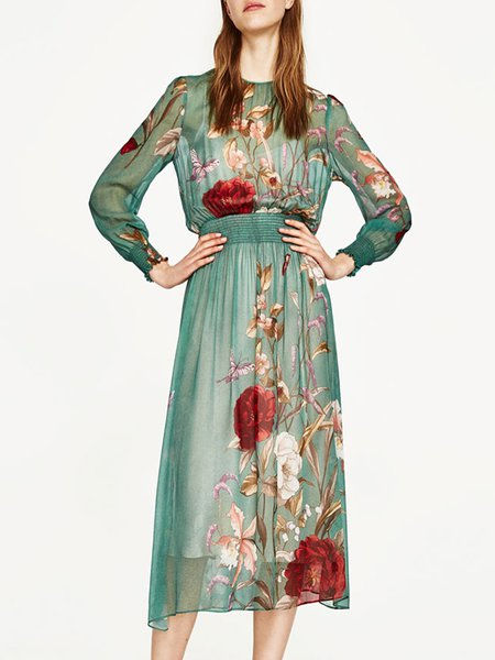 Stand by Me Green Floral-print Shirred Dress