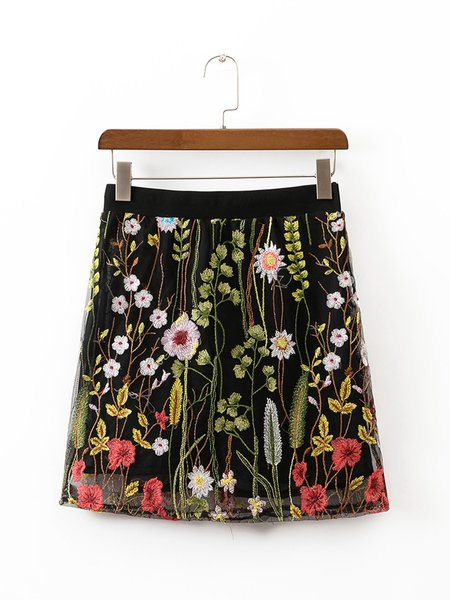 What a Rock Black Embroidered Mesh Skirt