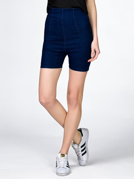 Swoon as Possible Solid Denim Shorts
