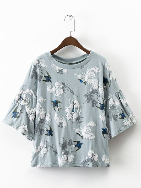 Ride West Blue Puff Print Bell Sleeve T-Shirt