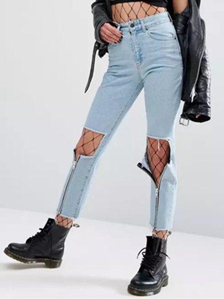 Love Confession Blue Cutout Street Denim Jeans