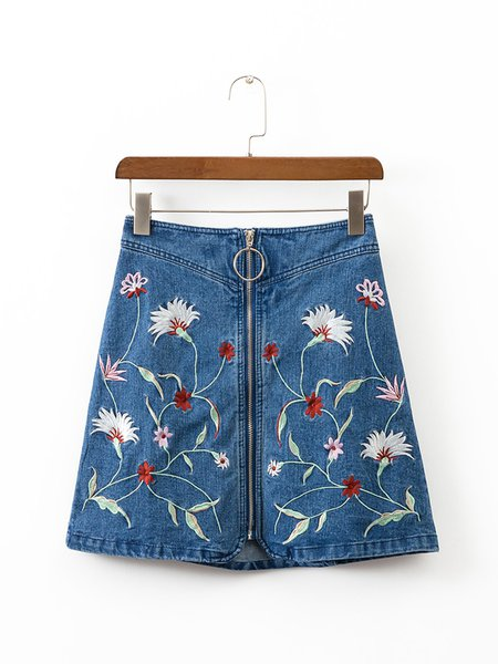 Denim Days Blue Zipper Embroidered Skirt