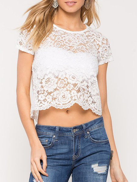 Here With You White Lace Crop Top