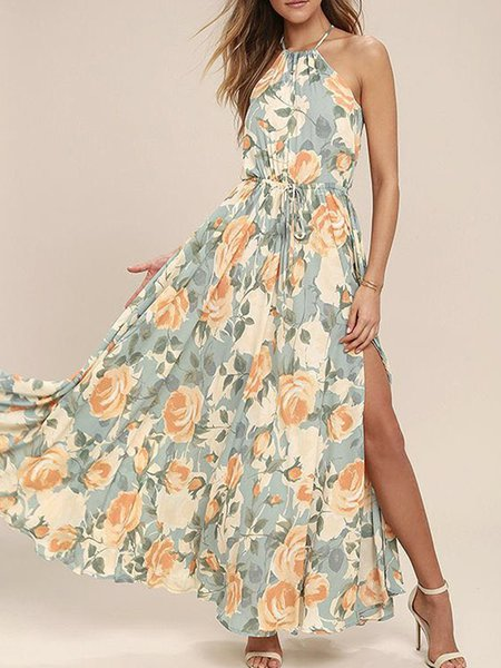 Mix Master Slit Halter Floral Swing Dress