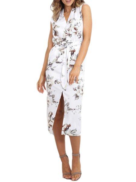 Got This Feeling White Surplice Neck Slit Dress