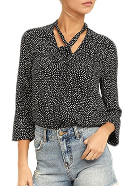 University of Chic Black Polka Dots Blouse