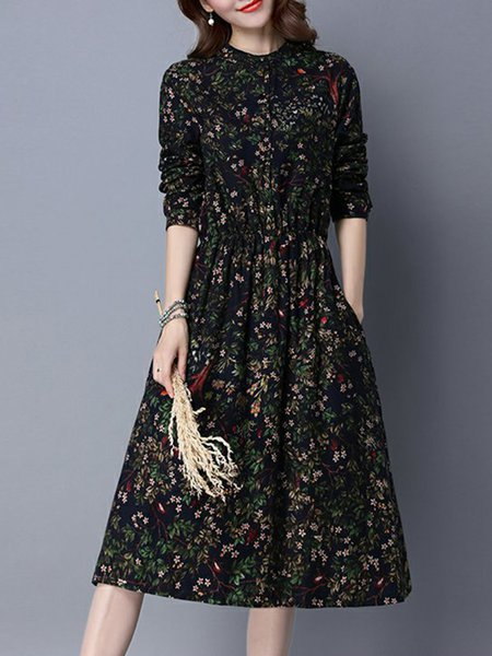 Women Print Dress Crew Neck A-line Going out Printed Floral Dress