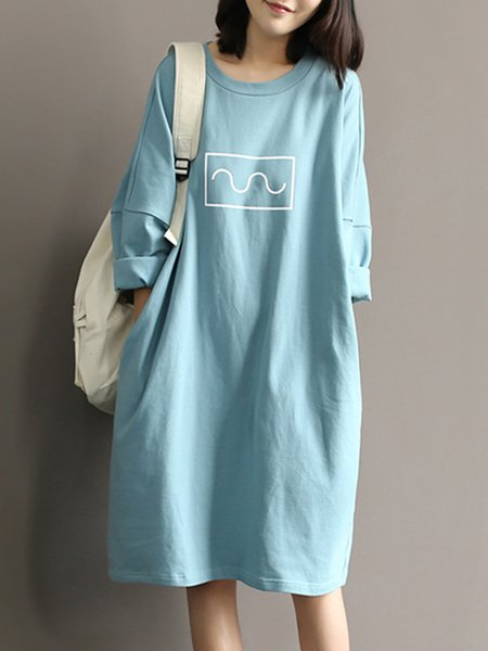 Blue Casual Crew Neck Pockets Cotton Casual Dress