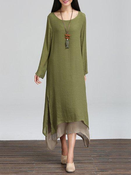 Linen Cotton Long Sleeve Casual Dress