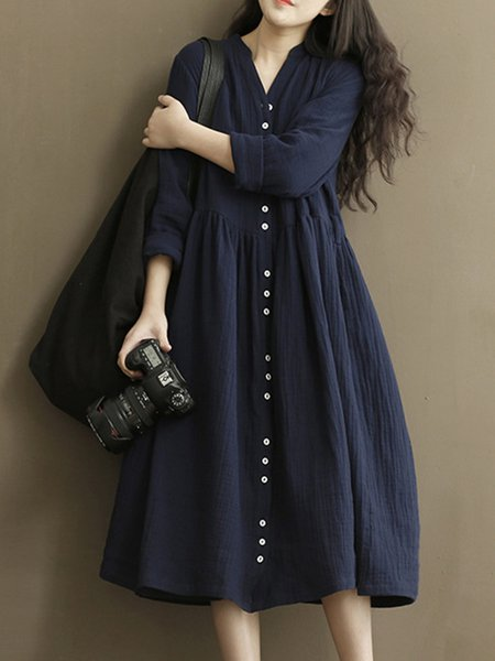 Blue Women Casual Dress Stand Collar A-line Daytime Long Sleeve Casual Dress