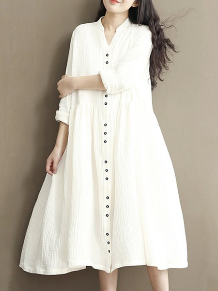 White Solid Long Sleeve A-line Casual Dress