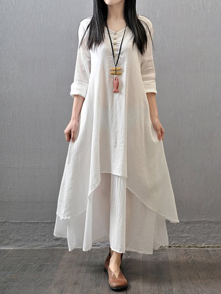 White Solid Asymmetric Casual Maxi Dress
