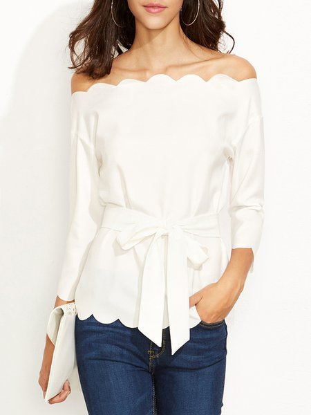 Call to Charm White Scalloped Off Shoulder Top with Belt