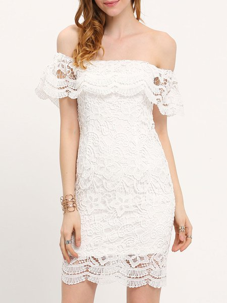 Spiritual Burst White Ruffled Lace Dress