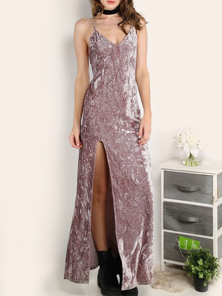 Extraordinary Talent Pink Slit Velvet Maxi Dress
