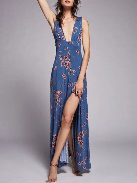 Infatuation Blue Printed Slit Boho Dress