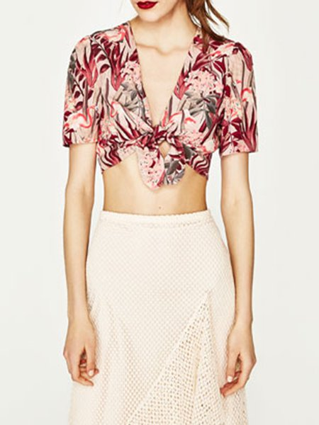 Curated Selection Pink Floral V Neck Crop Top