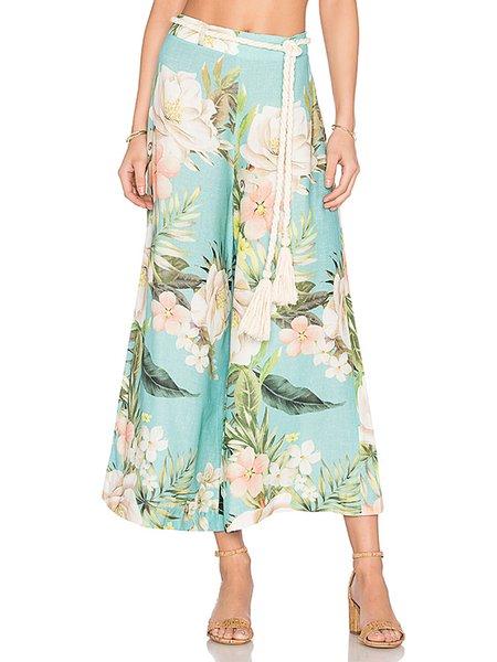 Rhythm Divine Green Boho Printed Culotte Pants