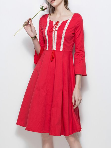 Red Frill Sleeve Embroidered A-line Dress