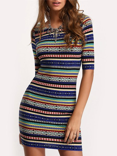Multicolor Sheath Geometric Print  Half Sleeve Dress