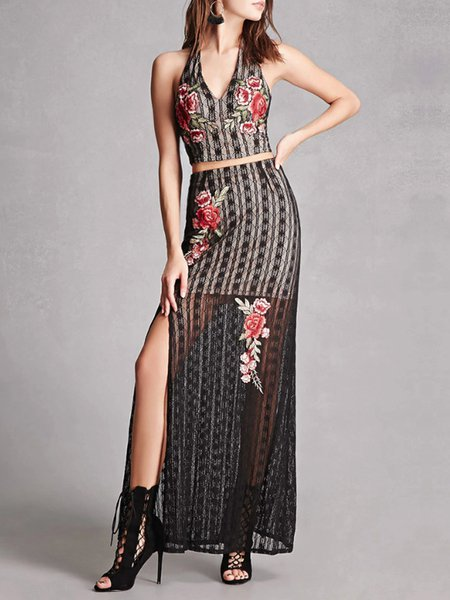 Black Vintage Floral Embroidered Two Piece Dress