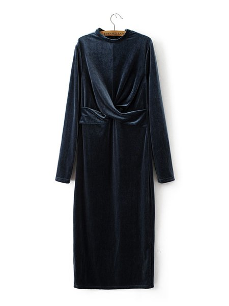 Great for Ratings Gray Solid Knot Front Velvet Dress