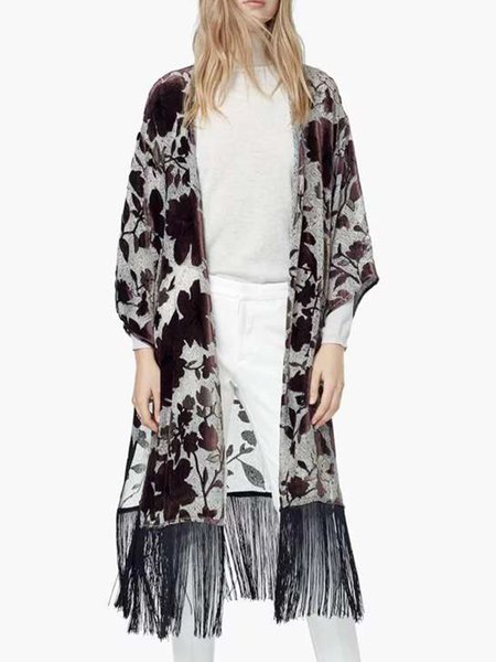 Brown Floral Printed Long Sleeve Cardigan