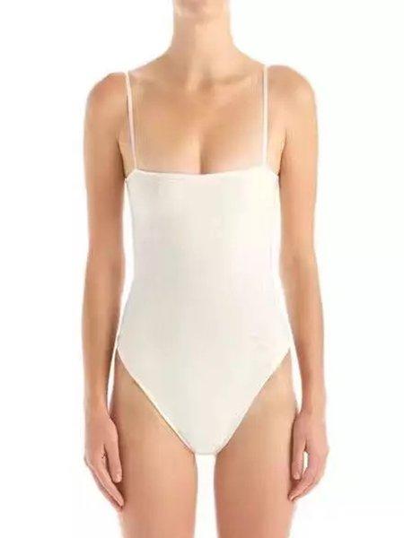 White Solid Spaghetti Bodysuit