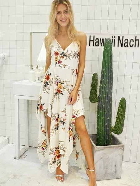 For a Getaway White Floral Spaghetti Dress