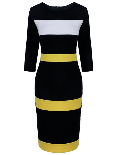 Yellow Color-block Vintage Sheath Dress
