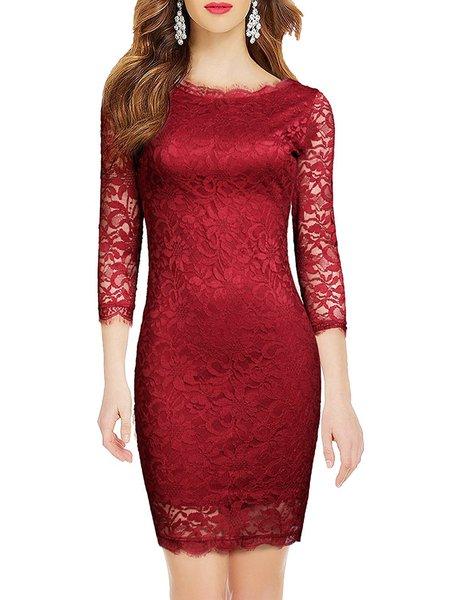 Dance in Nowhere 3/4 Sleeve Guipure Dress