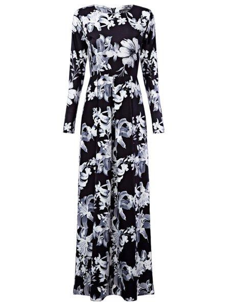 Trip to the Vineyard Black Vintage Maxi Dress