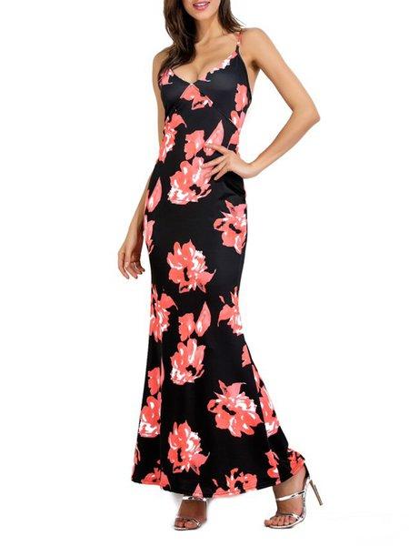 Flower Songs Red Spaghetti Mermaid Maxi Dress