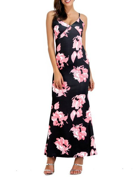 Flower Songs Pink Spaghetti Mermaid Maxi Dress