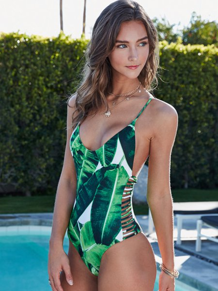 Green Palm Printed Straped Padded One-piece