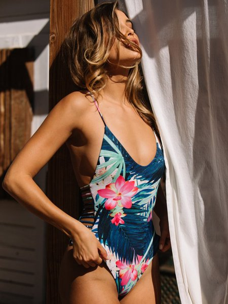 Dark Blue Padded Straped Floral Printed One-piece