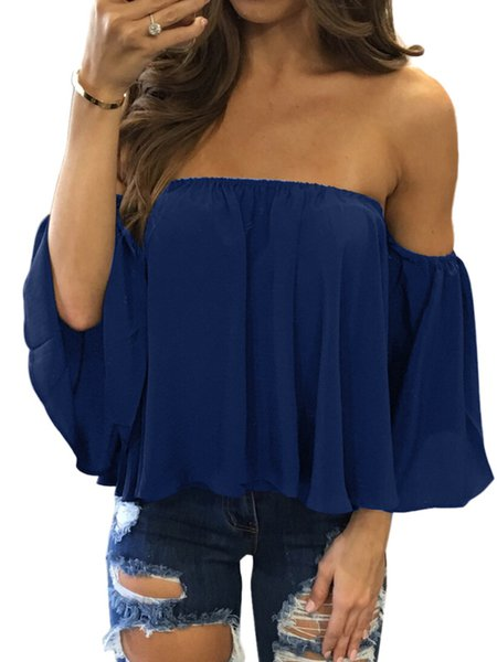 Summer Date Ruffled Chiffon Off Shoulder Top