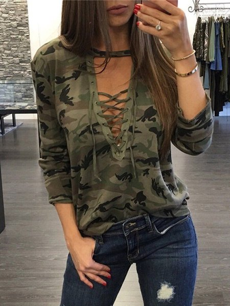 Army Green Camo Lace Up V Neck Top