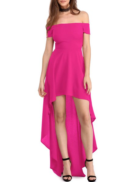 Fuchsia Solid Off Shoulder High Low Party Dress