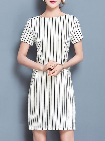 White Stripes Short Sleeve Modest Dress