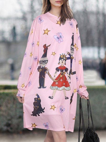 Cartoon Printed Long Sleeve Cute Dress