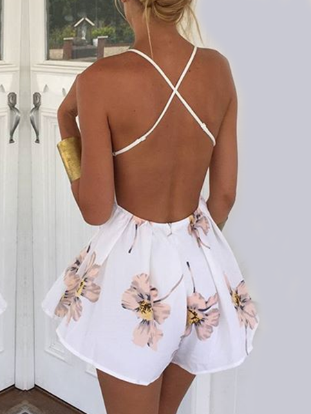 White Floral Spaghetti Cross Back Romper