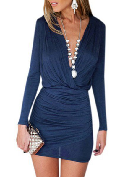 Blue Ruched Long Sleeve Solid Dress