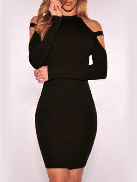 Black Long Sleeve Sheath Cold Shoulder Dress