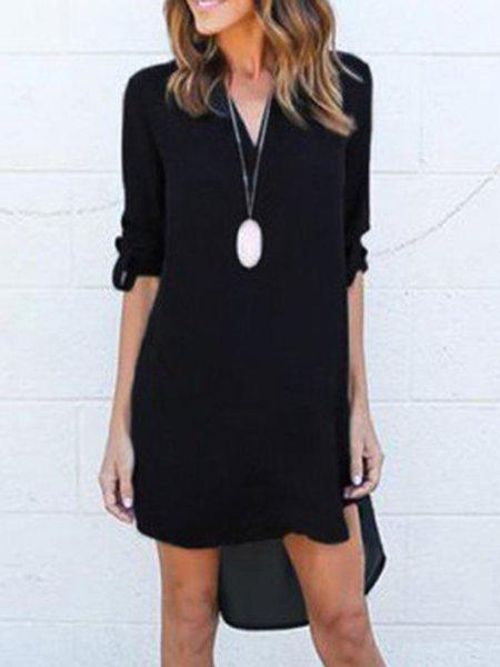 Black Chiffon High Low Casual Dress