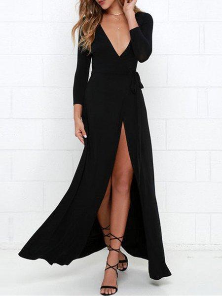 Black Plunging Slit Long Sleeve Maxi Dress